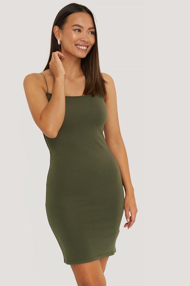 Khaki Green Sukienka Z Cienkimi Ramiączkami