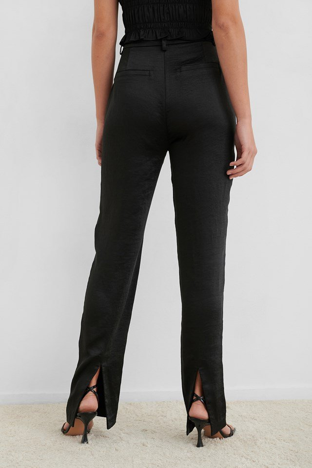 Black Split Back Straight Pants