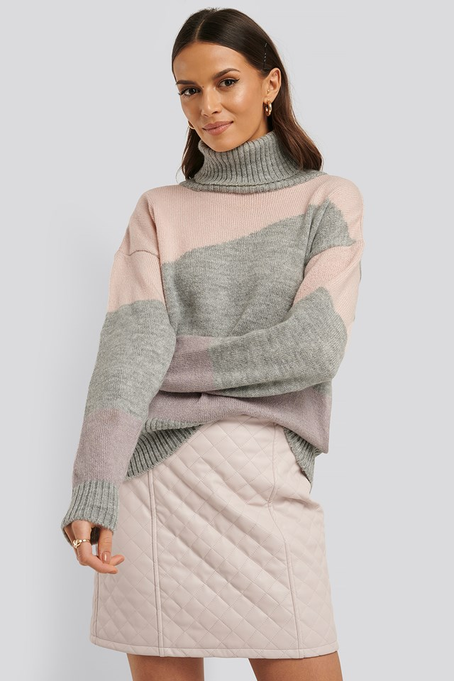 Split Colour Chunky Polo Sweater Grey