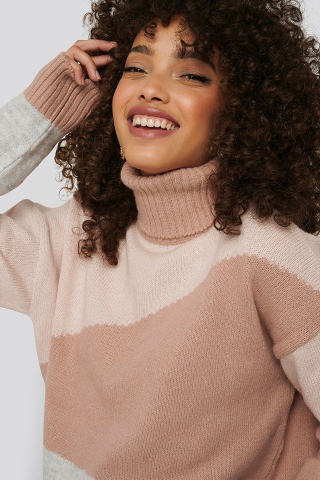 Split Colour Chunky Polo Sweater Light Pink