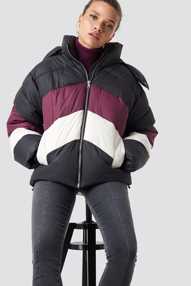 Block Padded Jacket Black/Red