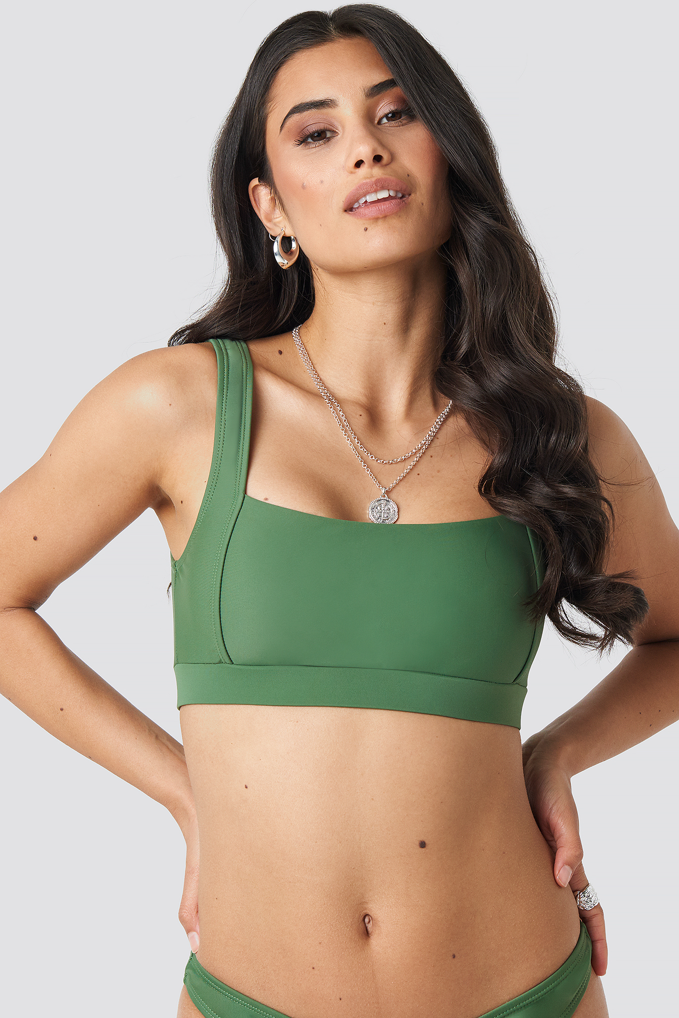 Khaki Square Neck Bandeau Top