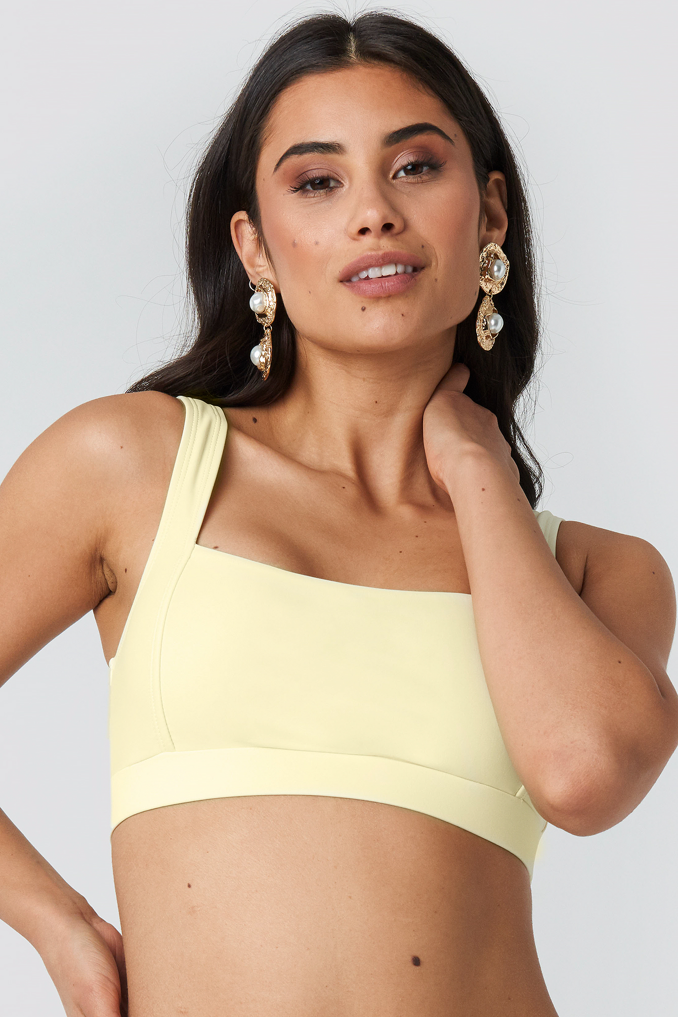Cream Square Neck Bandeau Top