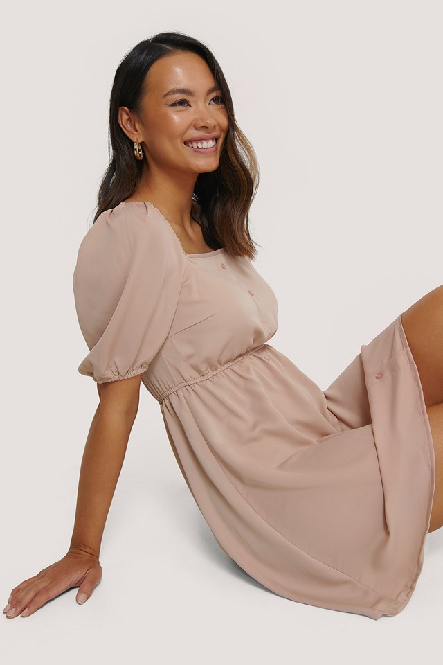 Dusty Pink Square Neck Buttoned Mini Dress