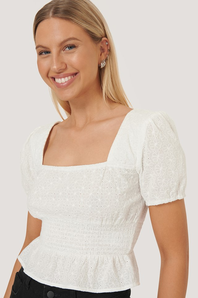 White Square Neck Cropped Blouse