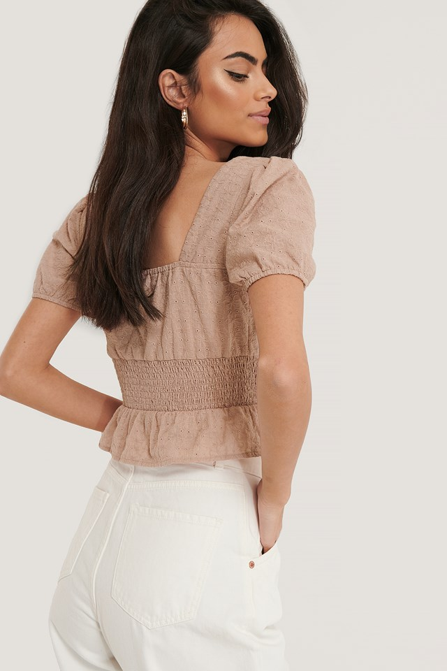 Square Neck Cropped Blouse Dusty Pink
