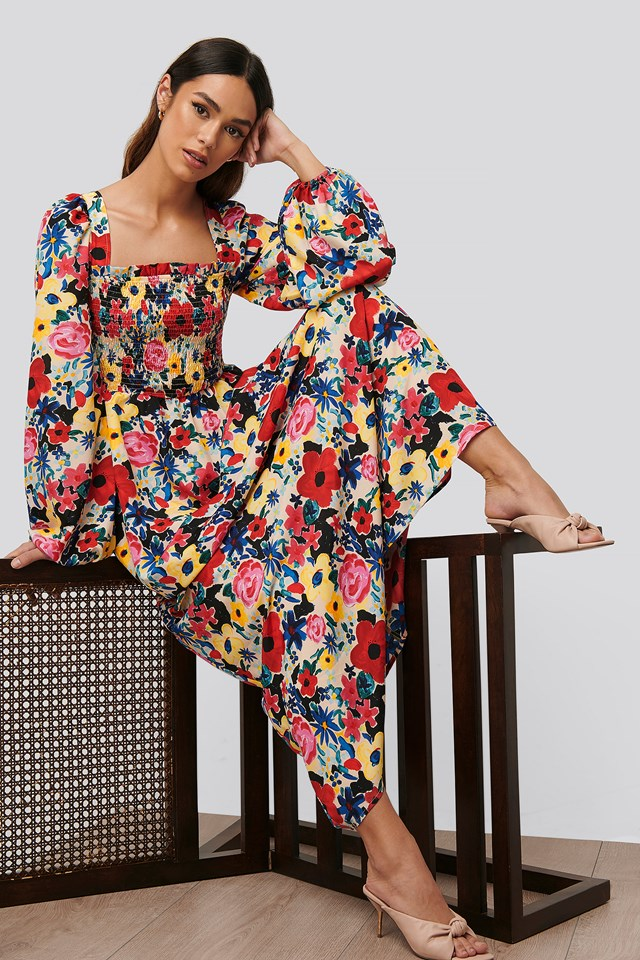 Square Neck Maxi Dress Poppy Flower