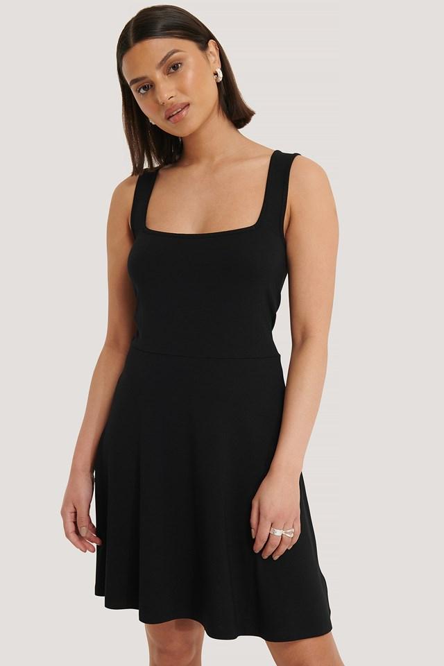 Square Neck Sleeveless Mini Dress Black