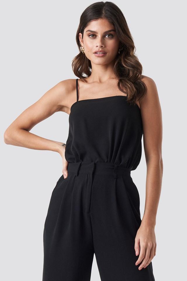 Square Neckline Bodysuit Black