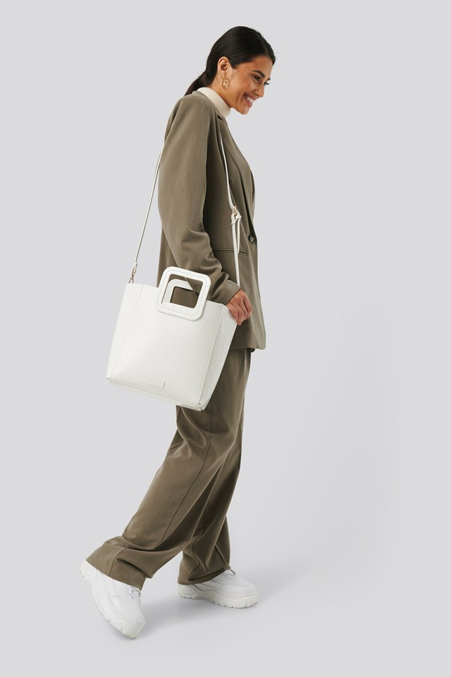 Squared Handle Shopper White