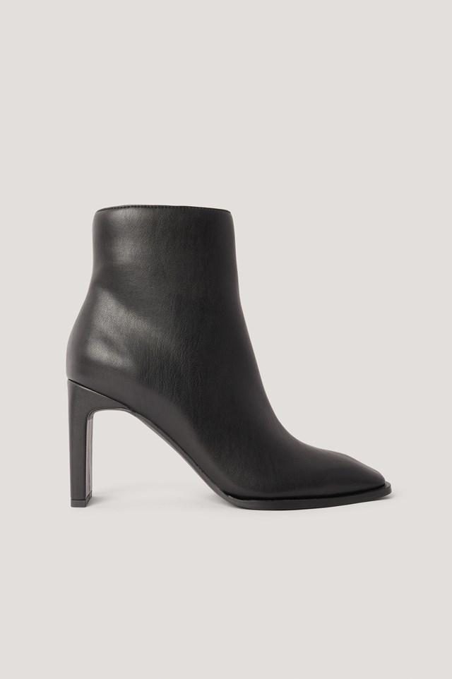 Black Squared Slanted Toe Boots
