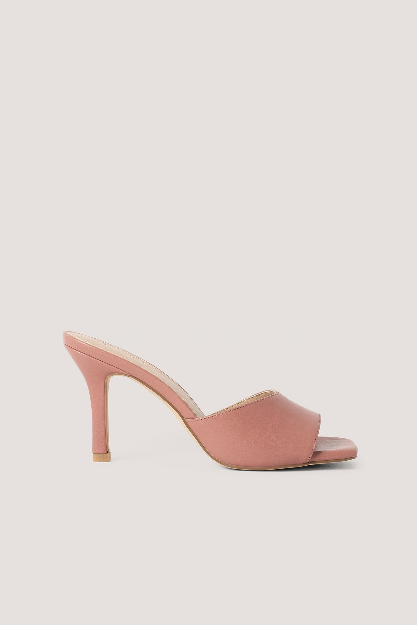 Dusty Pink Squared Toe Stiletto Mules