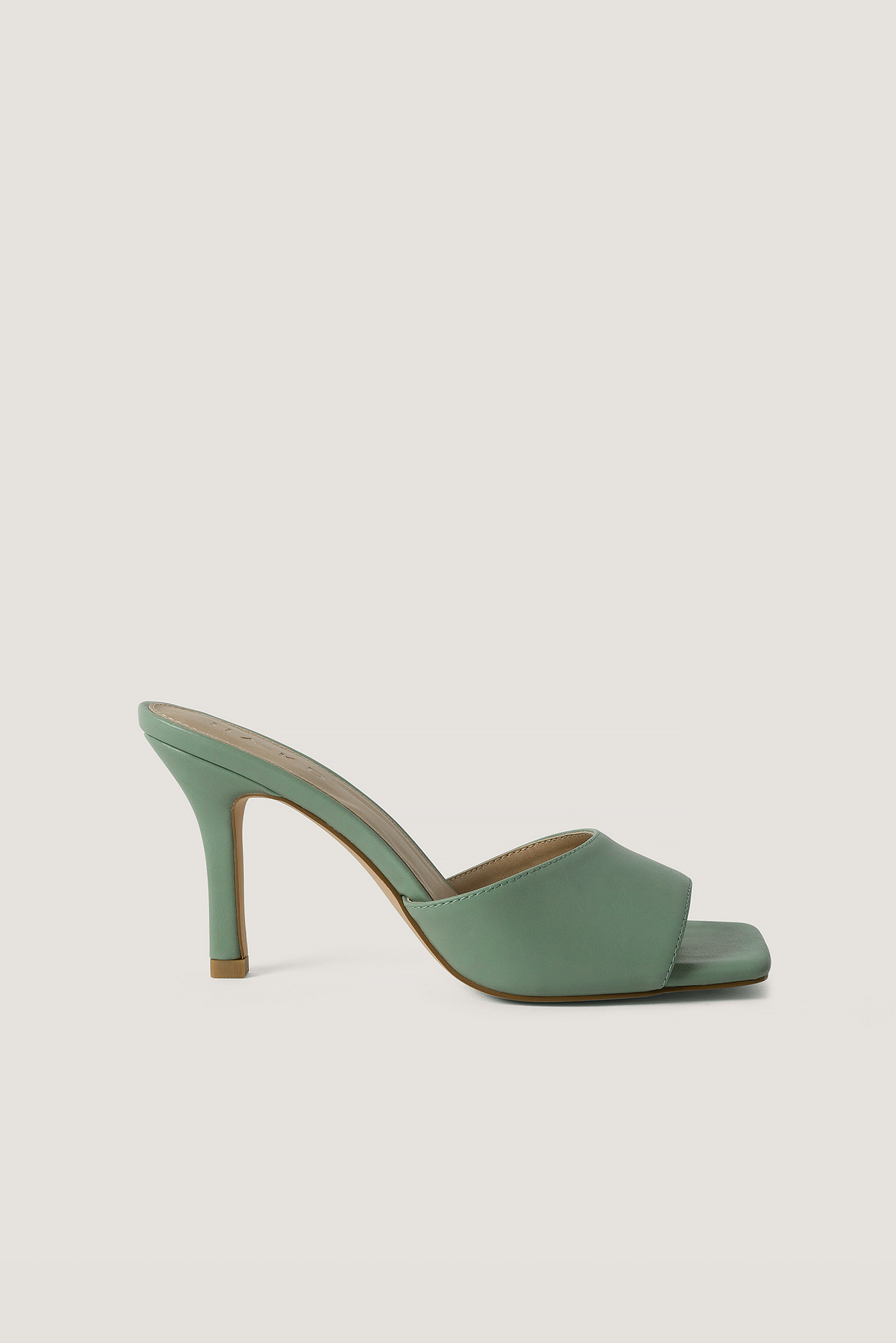 Dusty Green Squared Toe Stiletto Mules