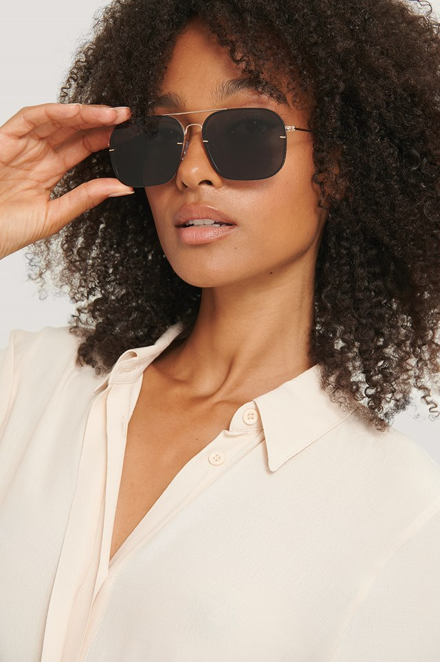Squared Wire Frame Sunglasses Black