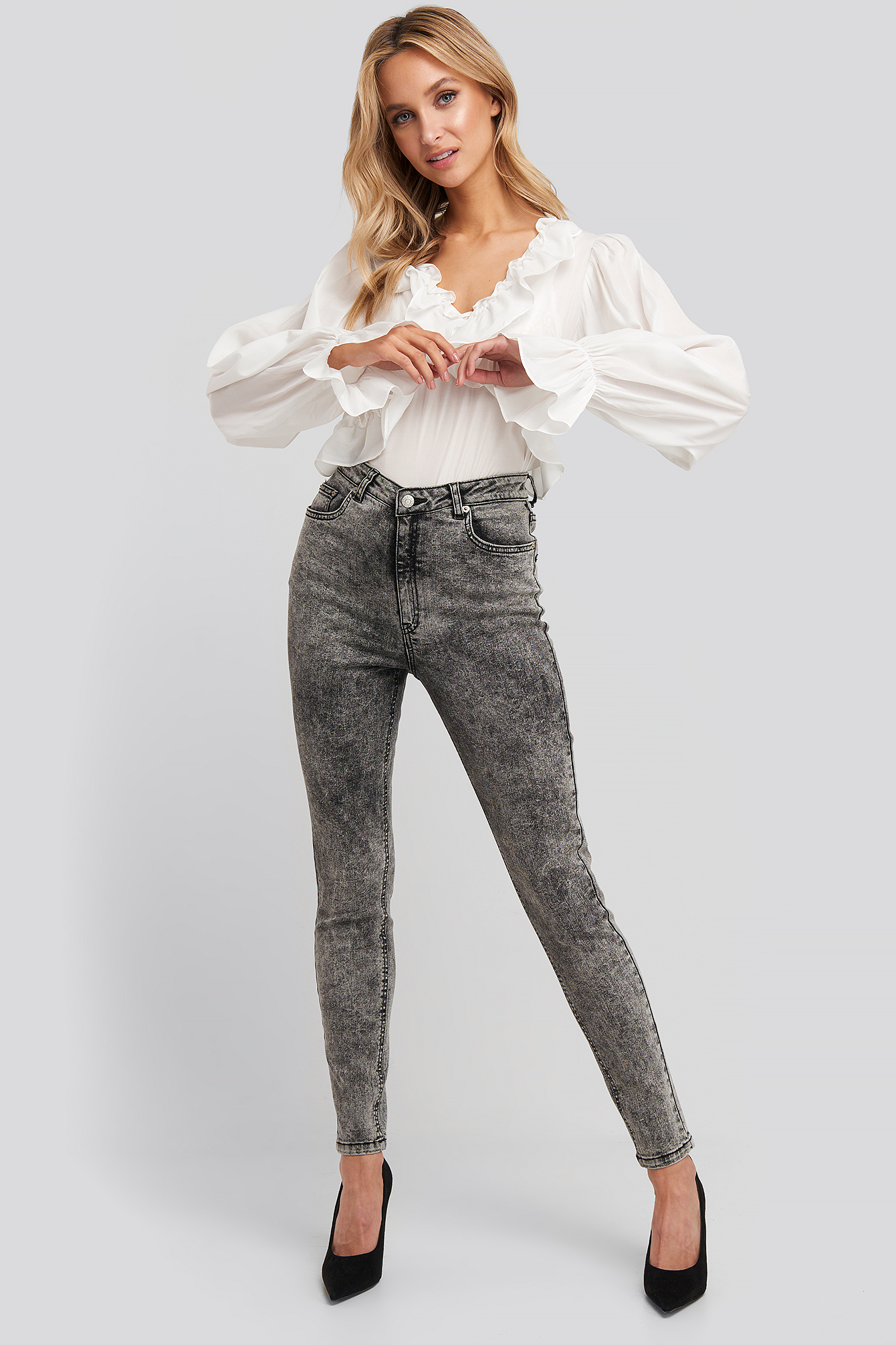 Black Stone Washed Skinny Jeans