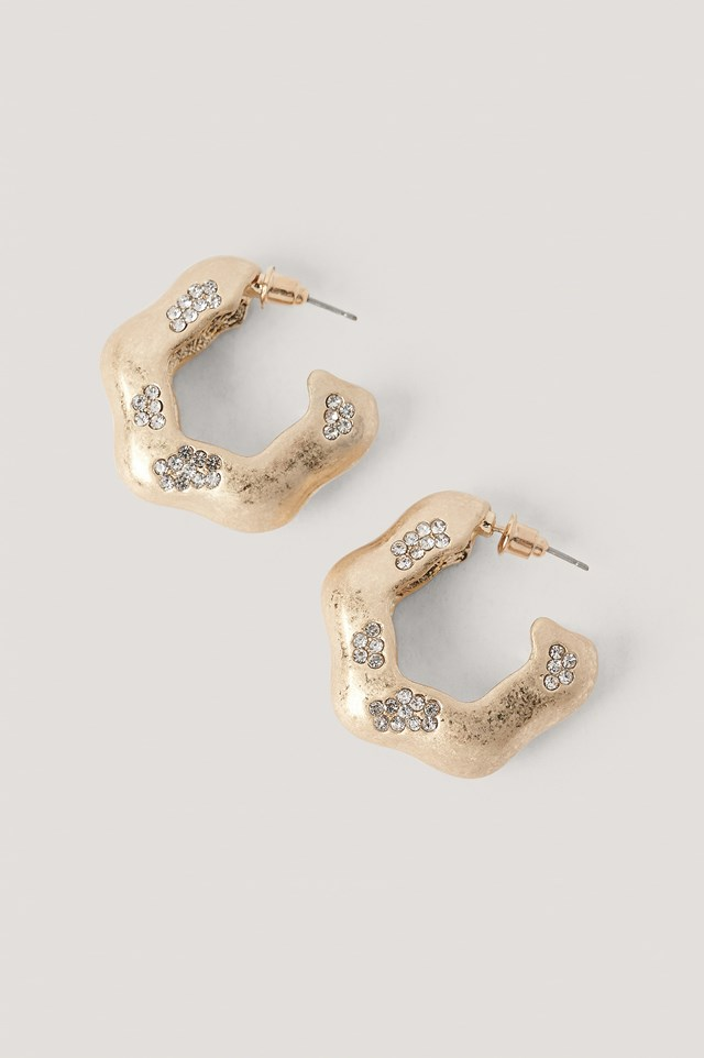 Gold Stone Detailed Hoops