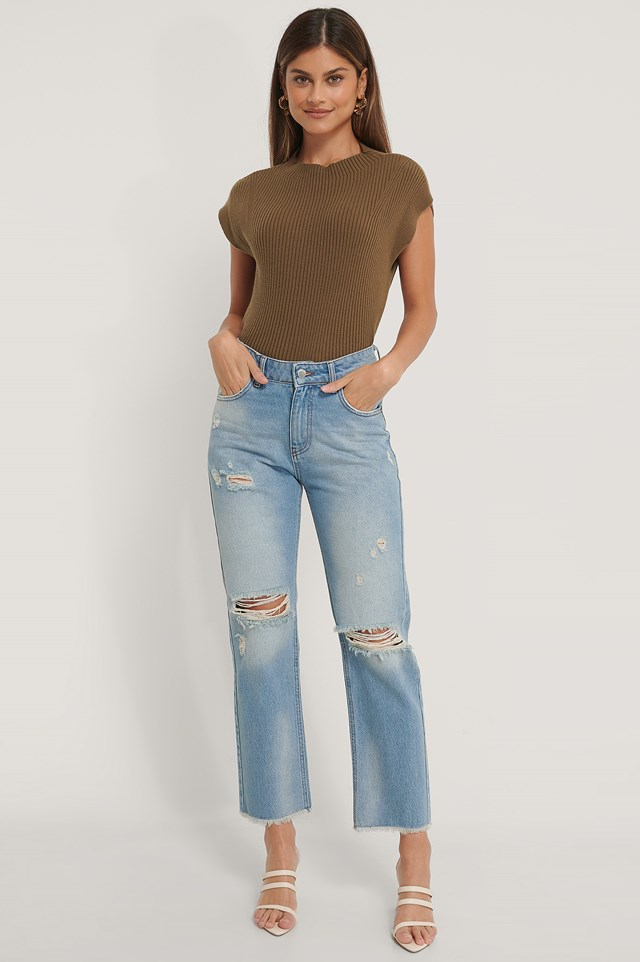 Straight Destroyed Fringed Hem Jeans Light Blue