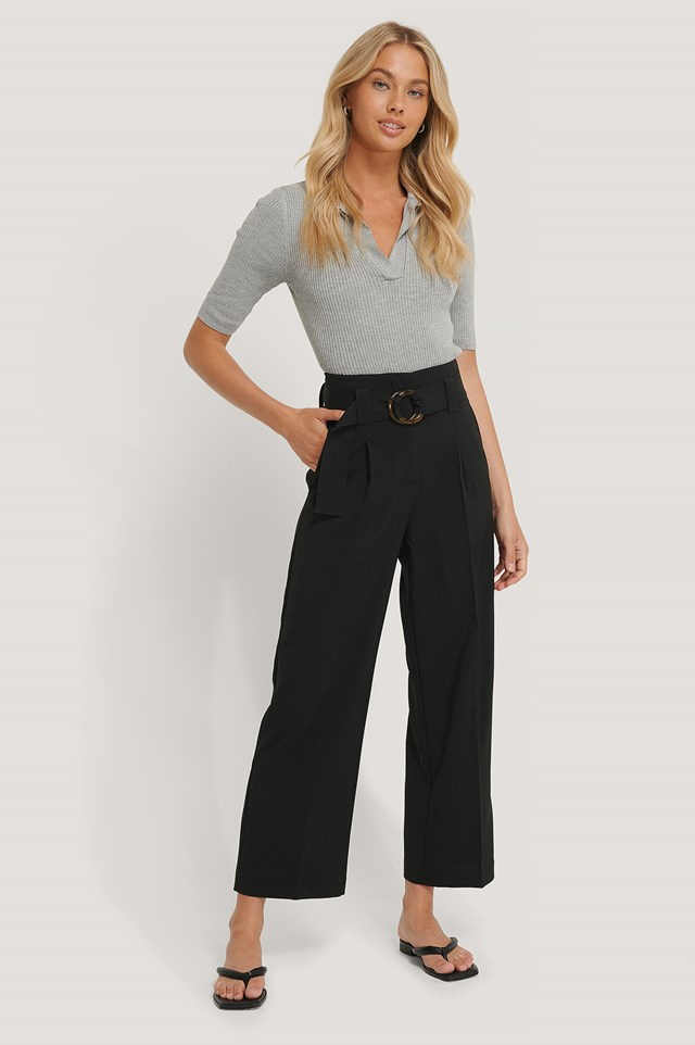 Black Straight Fit Belted Pants