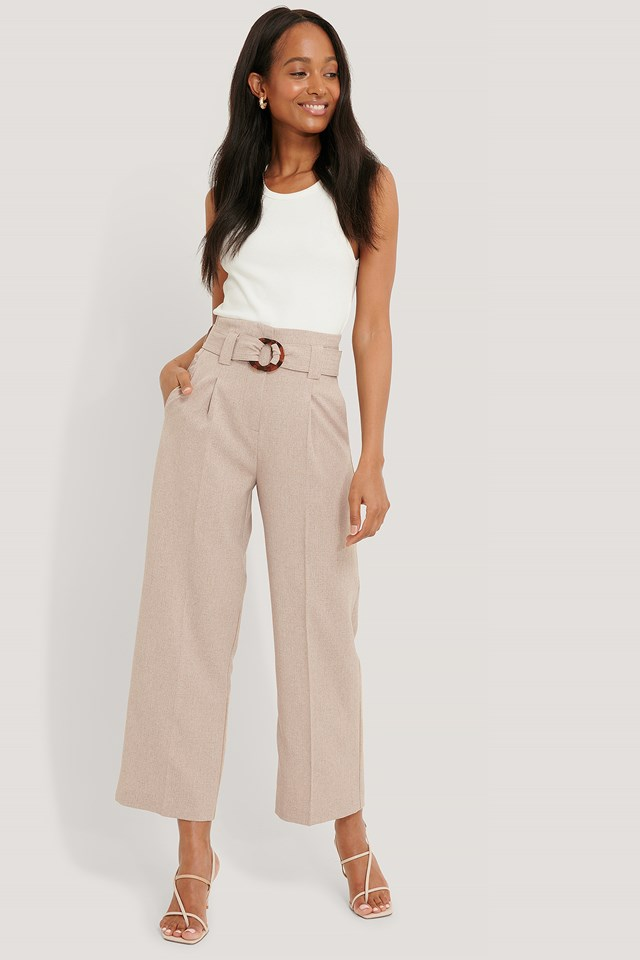 Beige Straight Fit Belted Pants