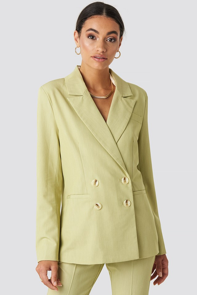 Straight Fit Double Breasted Blazer Lime
