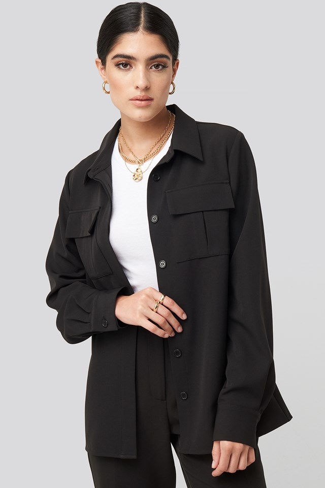 Straight Fitted Overshirt Black