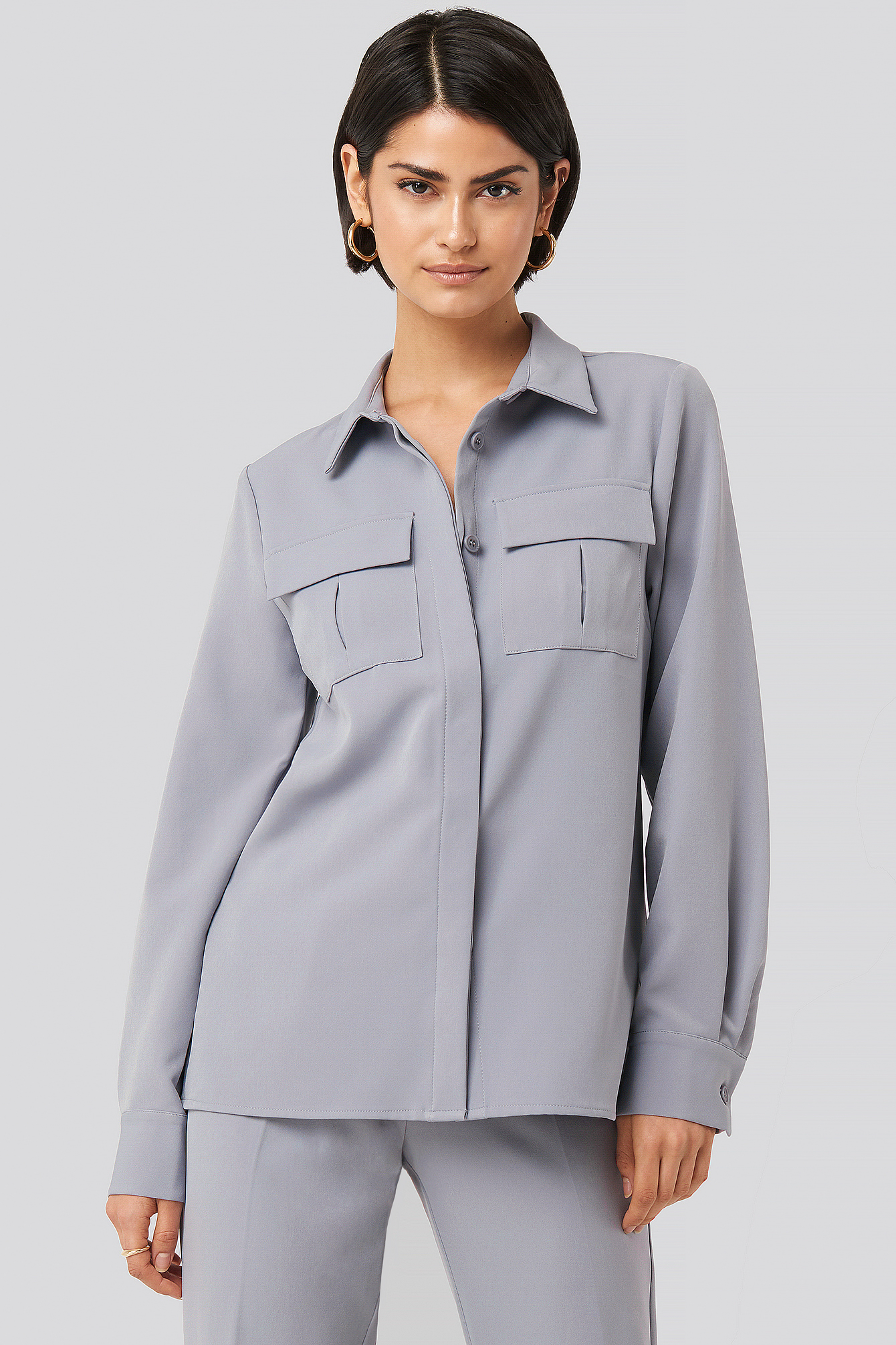 Dusty Blue Straight Fitted Overshirt