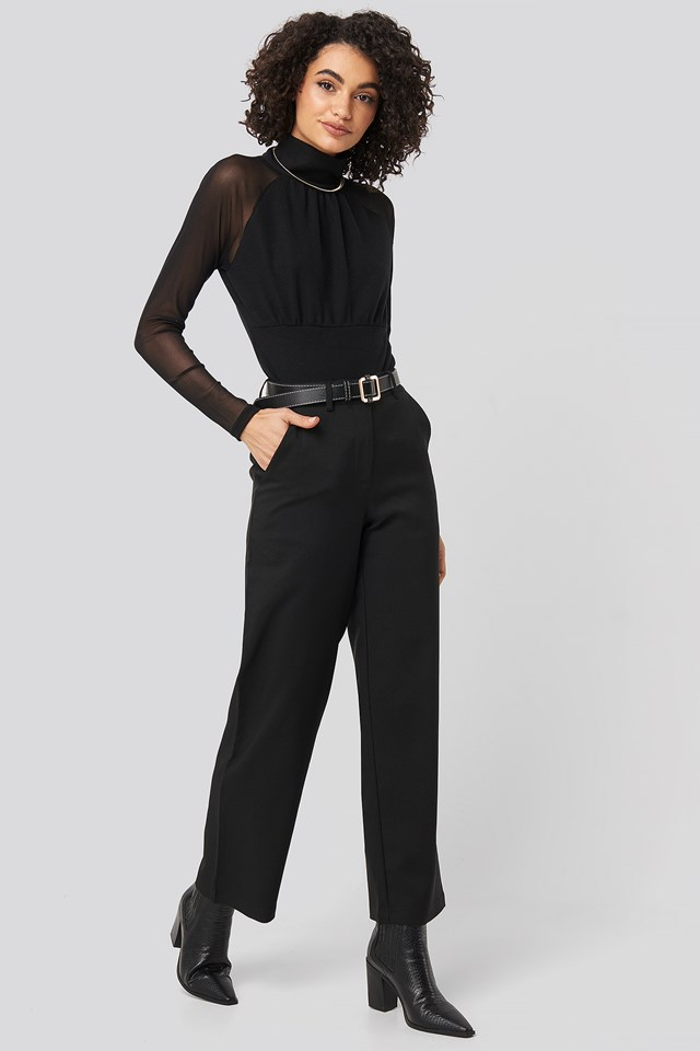 Black Straight Leg Wide Pants