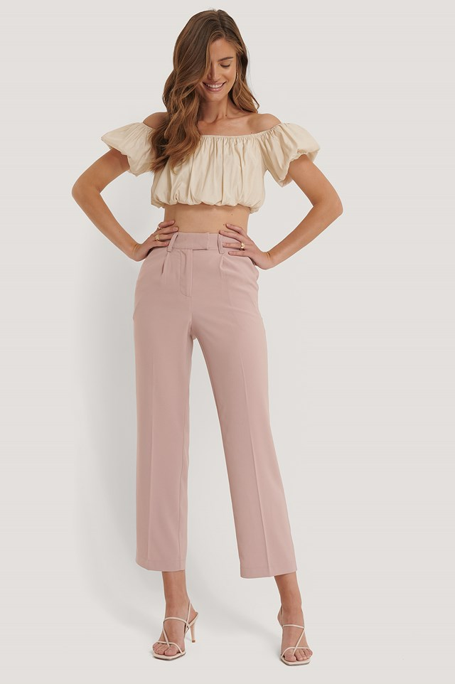 Straight Pleated Pants Dusty Pink
