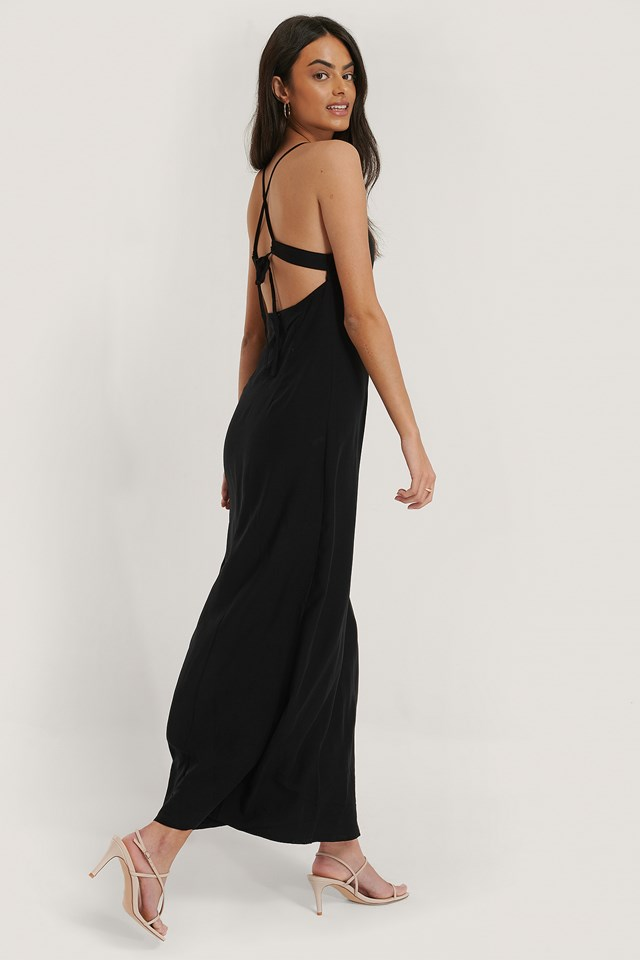 Strap Tie Back Dress Black