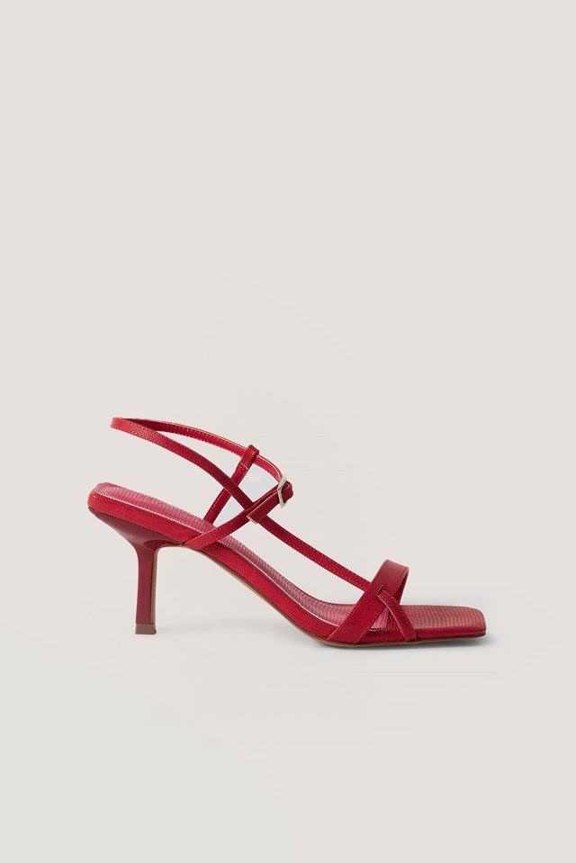 Strappy Buckled Heels Dusty Red