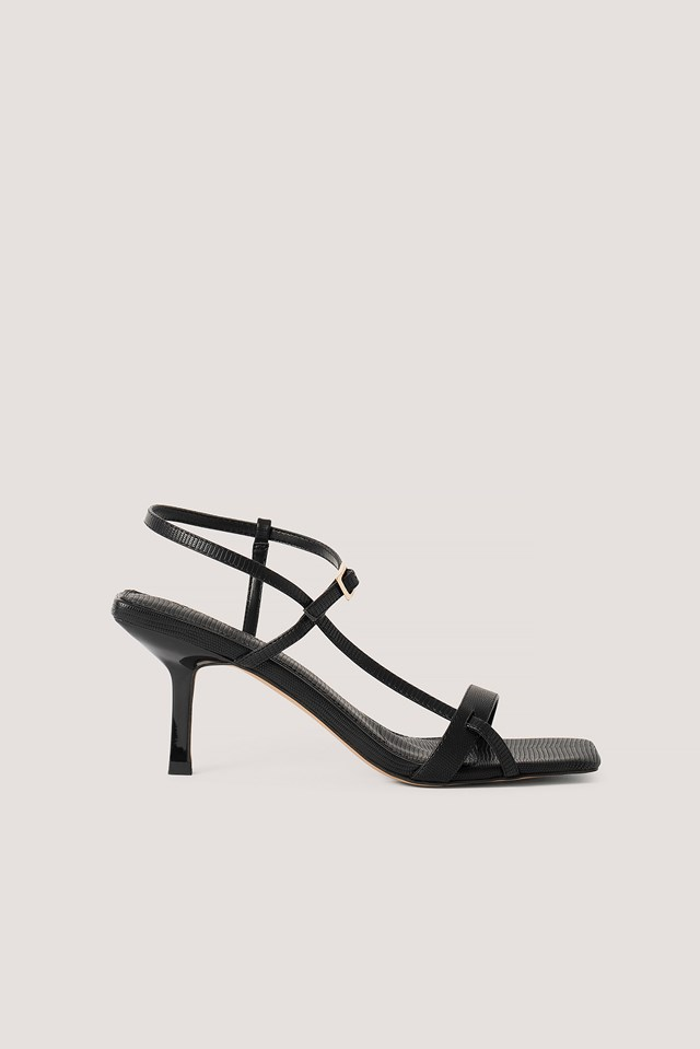 Strappy Buckled Heels Black