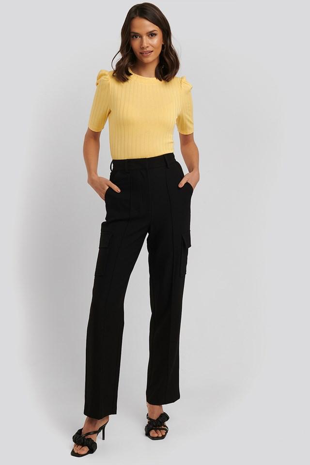 Straight Fit Pocket Suit Pants Black