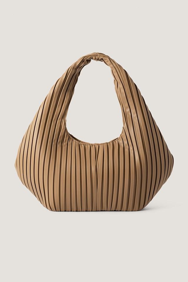 Striped Embossed Hobo Bag Light Brown
