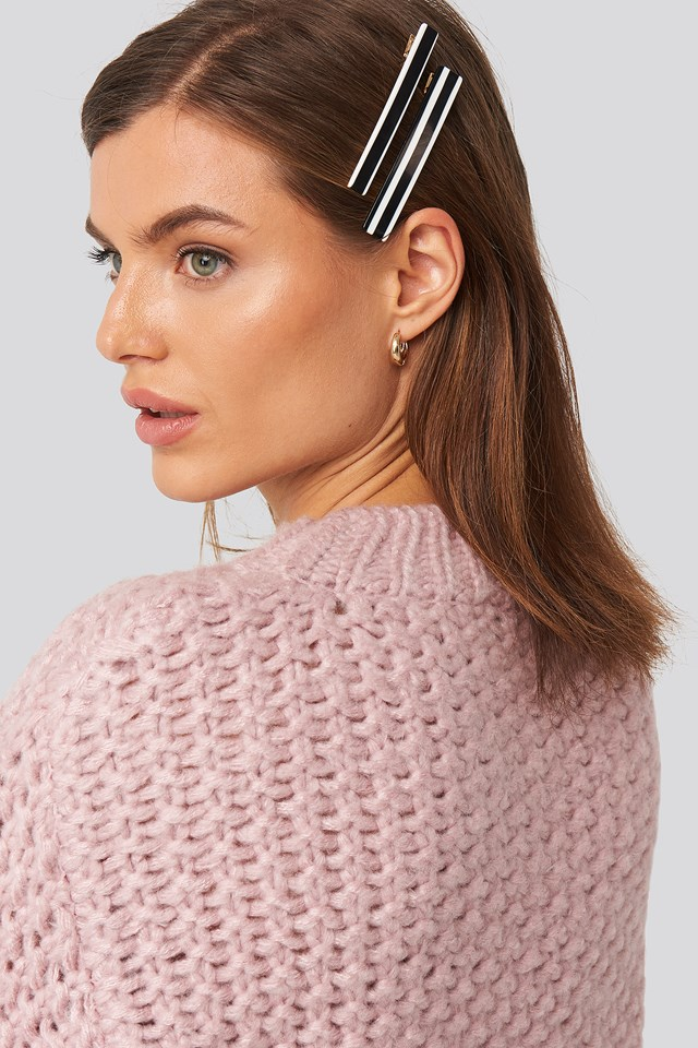 Striped Hairclips Black