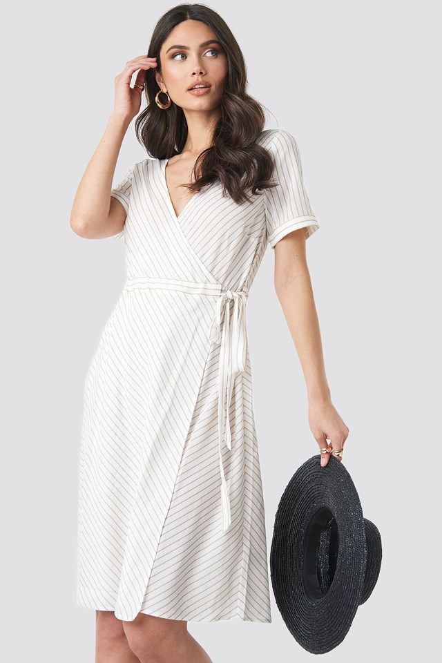 Beige Striped Overlap Dress
