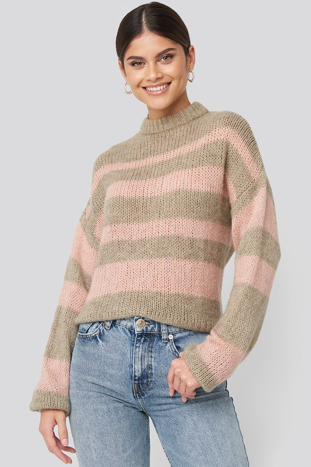 Pink Striped Round Neck Oversized Knitted Sweater