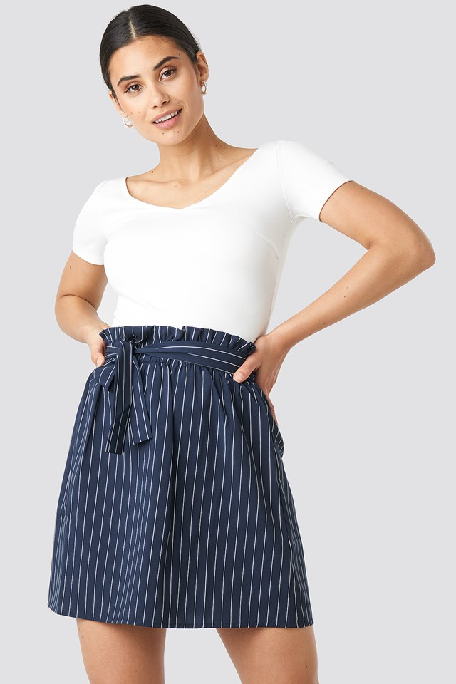 Striped Tied Waist Skirt Navy