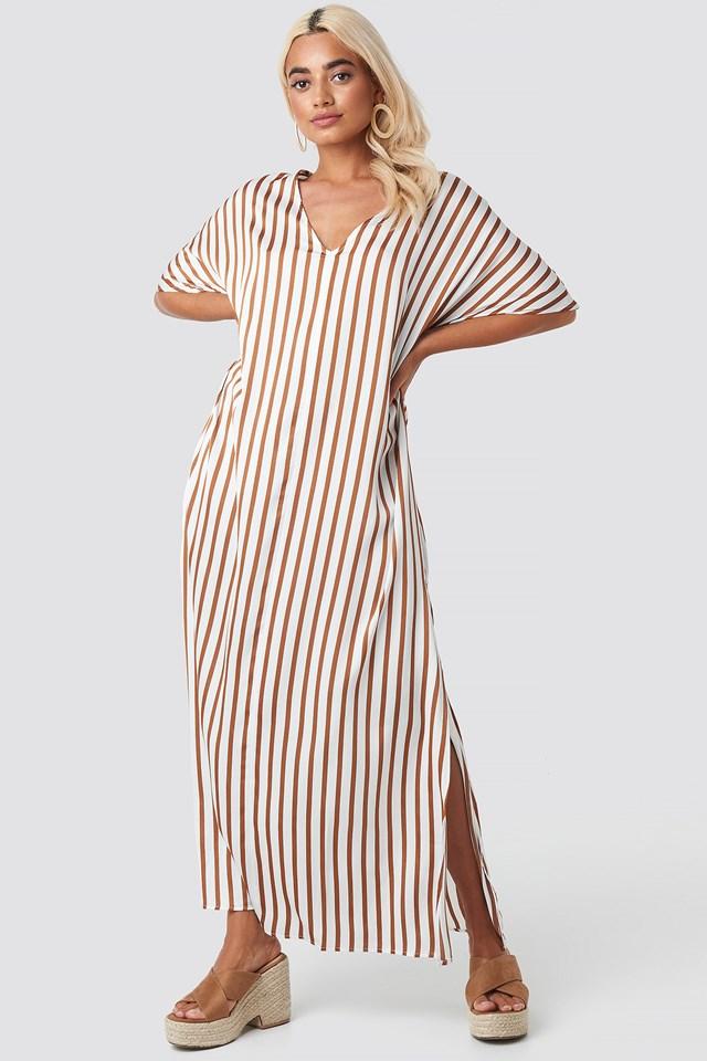 Striped V Neck Side Slit Dress White/Brown Stripe