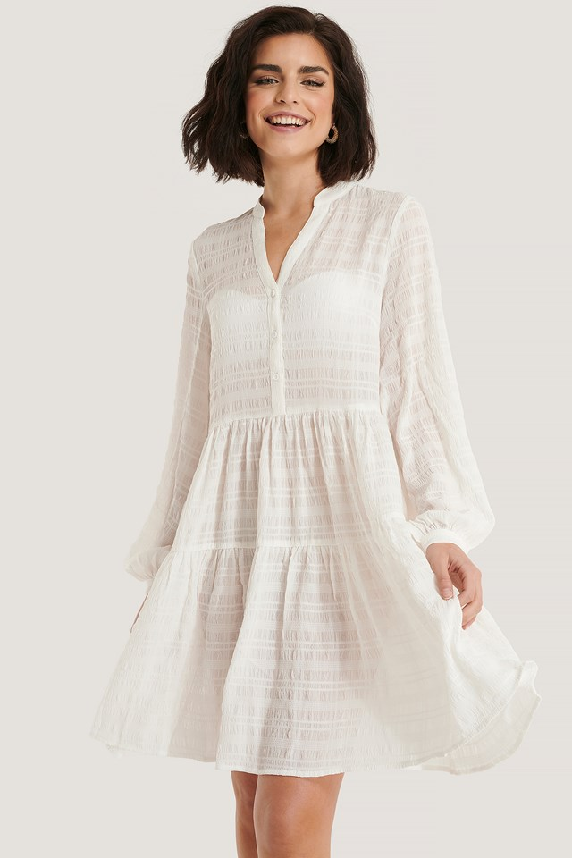 White Structure A-Line Dress