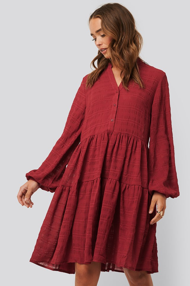 Dark Red Structure A-Line Dress