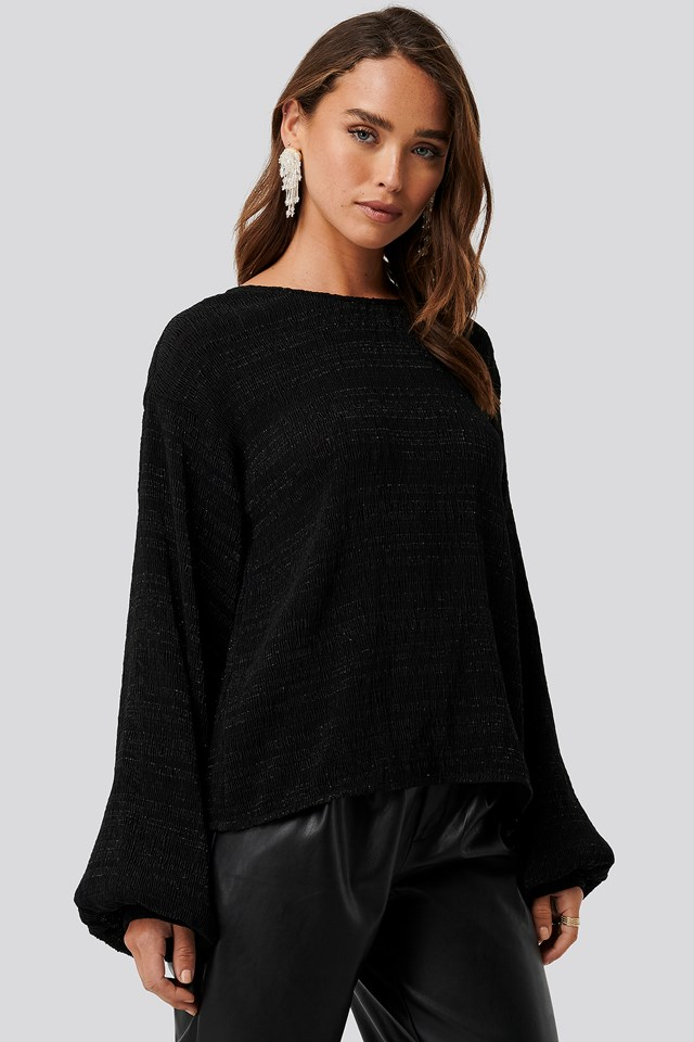 Black Structured Glittery Top