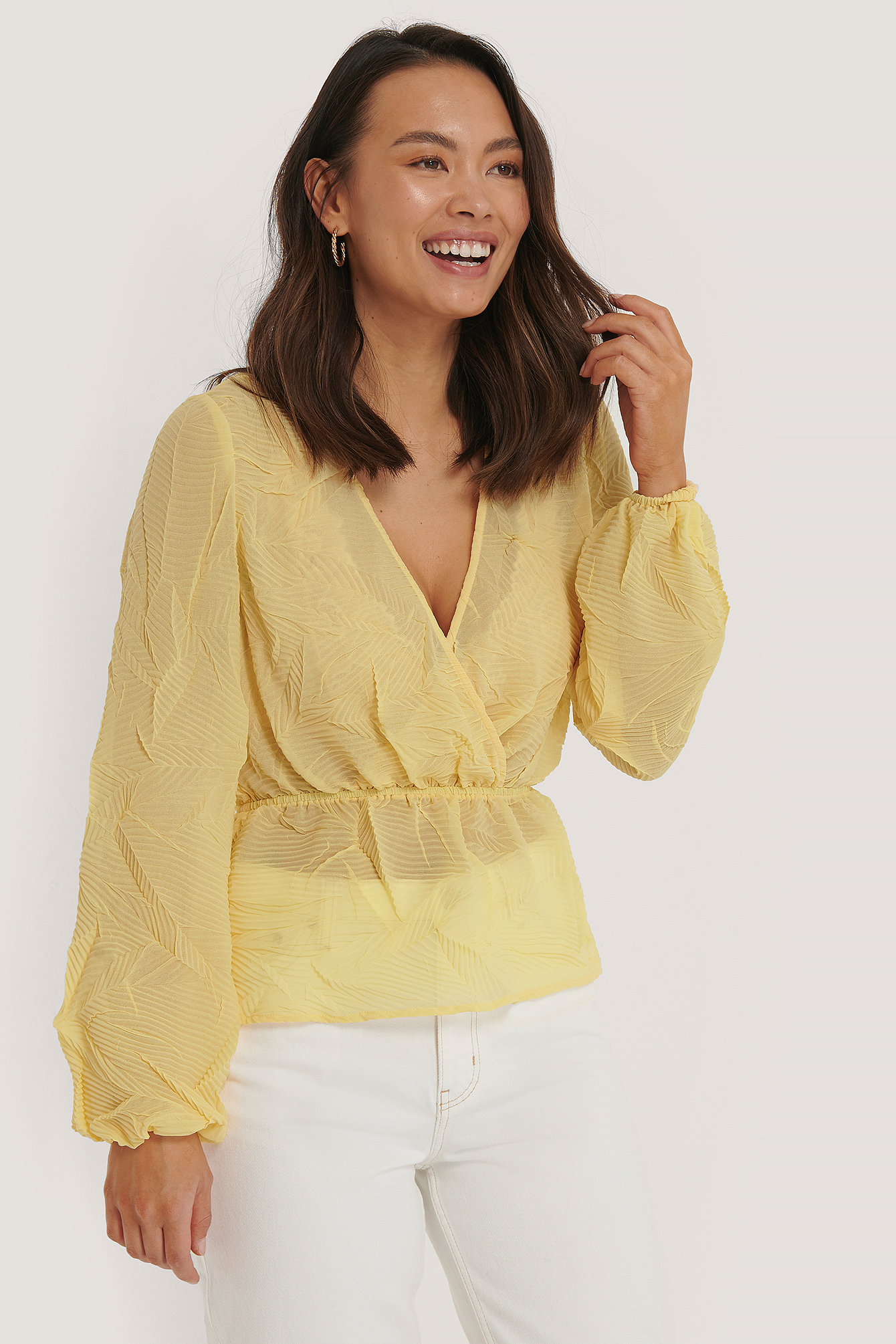 Light Yellow Structure Shirred Blouse