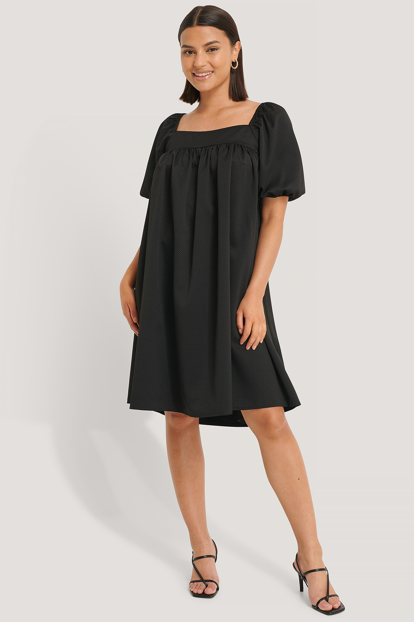 Black Structured Square Neck Dress