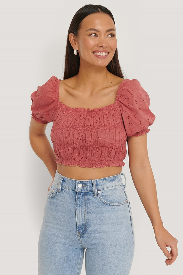 Structured Anglaise Crop Top Rose