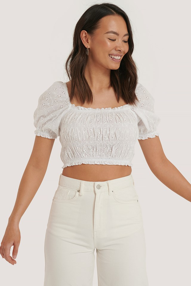Structured Anglaise Crop Top White