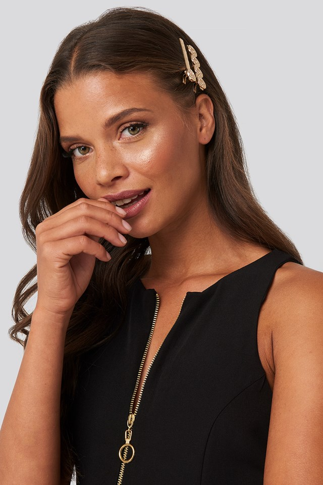 Structured Coin Hairpin Set Gold