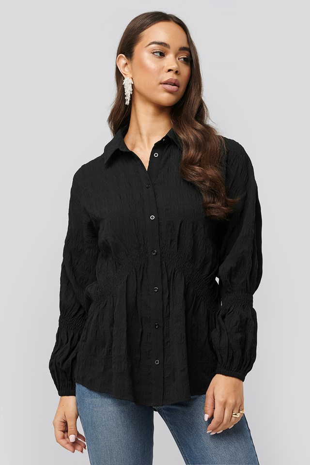Structured Collar Blouse Black