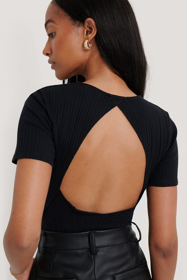 Organic Structured Cut Out Top Black