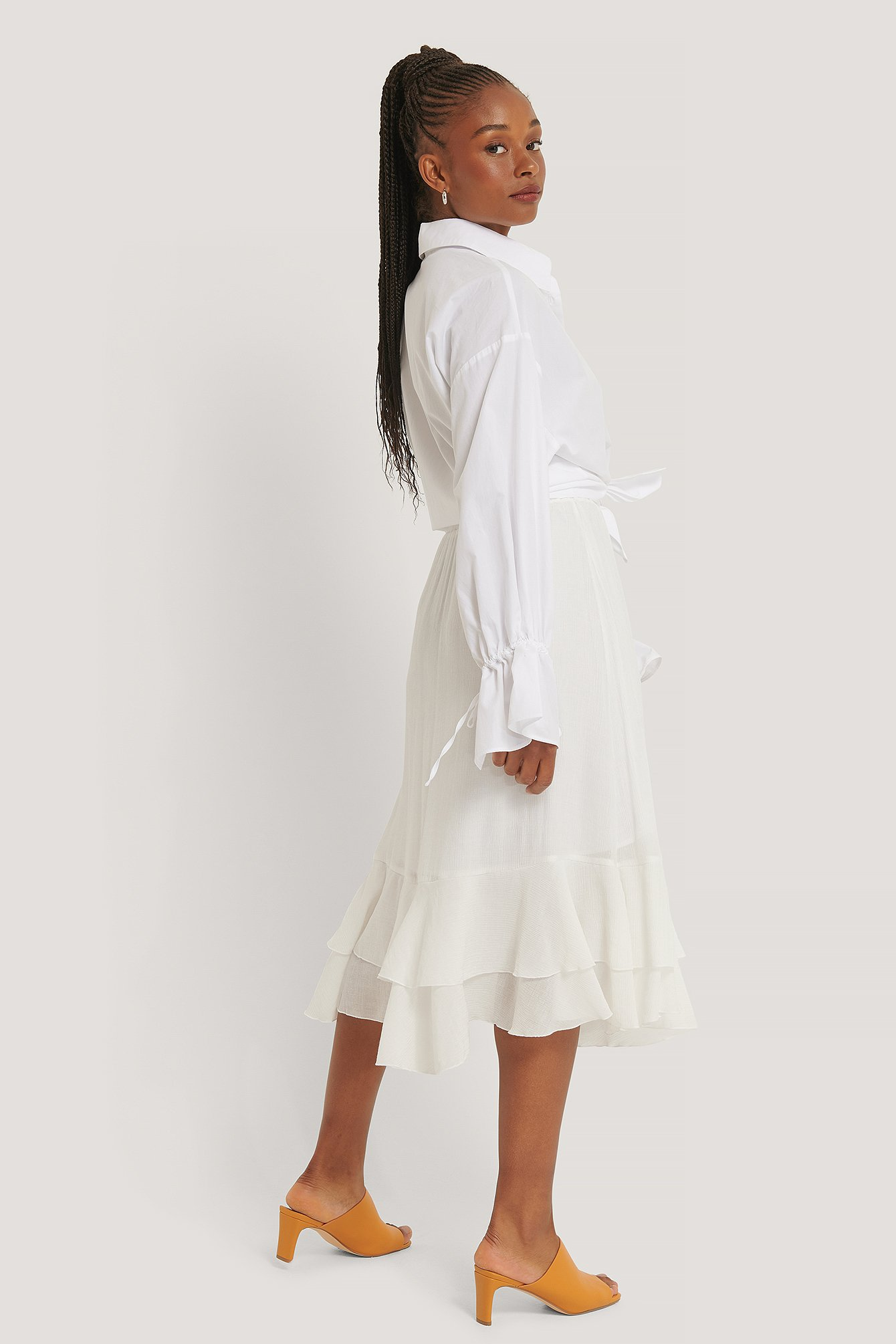White Structured Flounce Midi Skirt