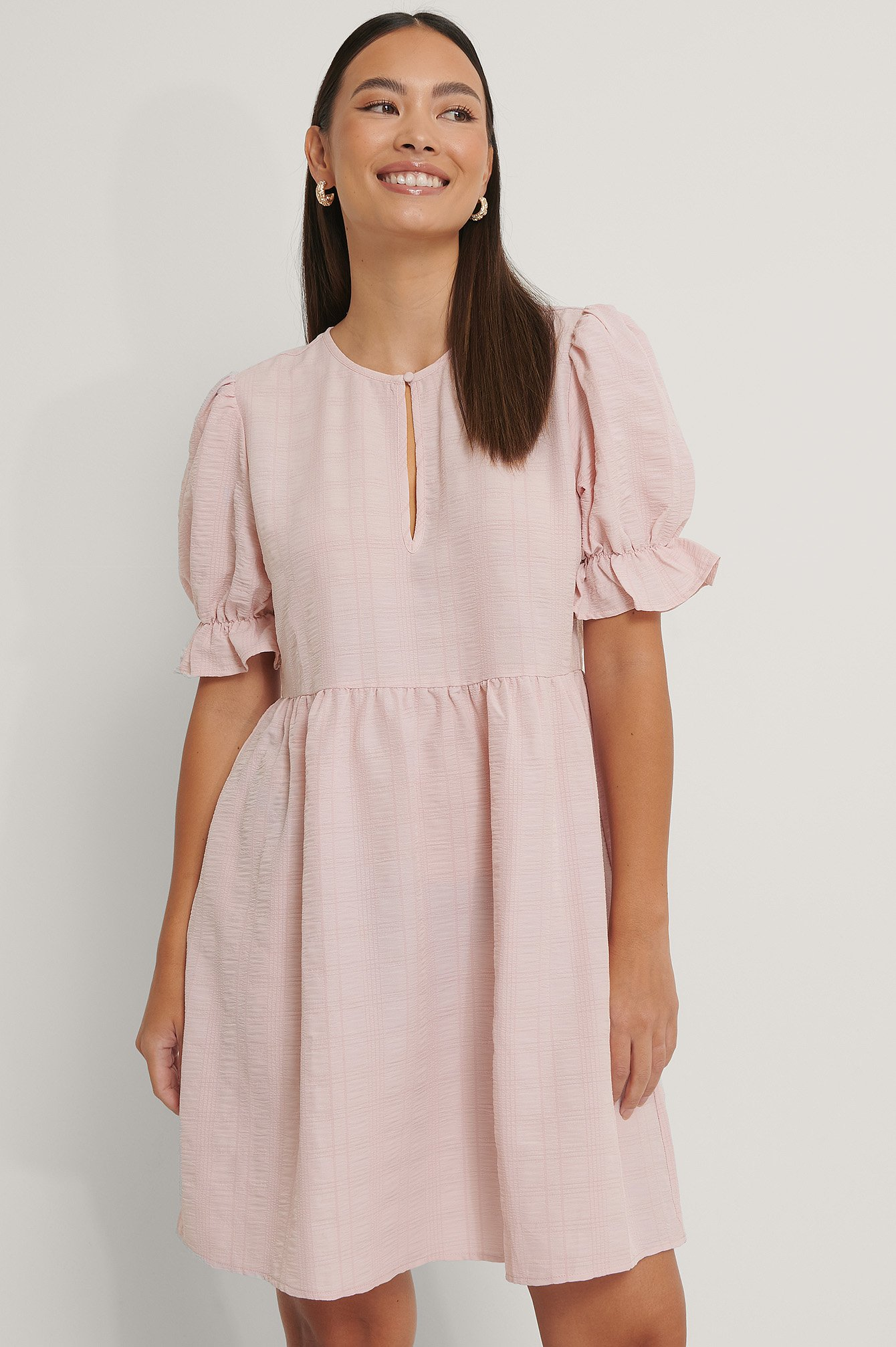Dusty Pink Structured Front Key Hole Dress